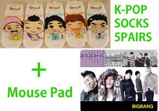 POP BIGBANG Low cut Womens Socks 5pairs+Mouse Soft PVC Pad #AC3