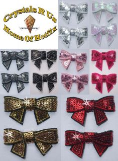 FABRIC SEQUIN BOW TIE IRON ON GEM BLING BABY KID CLOTH DIY CRAFT