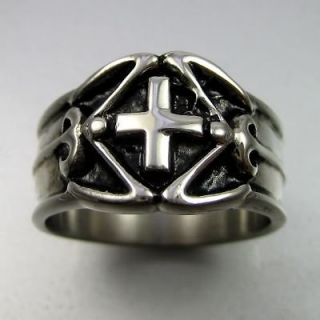 Vintage Biker Black Silver Stainless Steel Cross Mens Ring Size 10