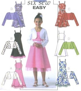 girls plus lined bolero jacket dress sewing pattern straps net