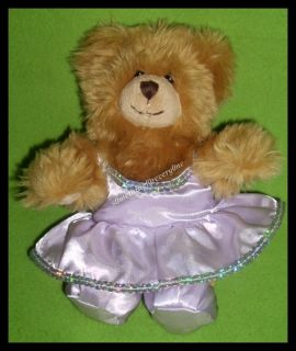 BUILD A BEAR SMALL MINI TEDDY BEAR PLUSH with OUTFIT DRESS SLIPPERS