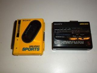 lot 2 vintage sony am fm walkman radio cassette wm