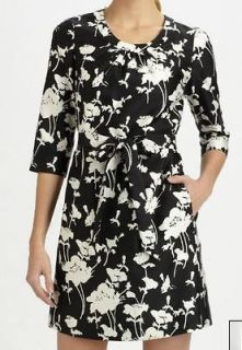 Kate Spade NWT Florence Broadhurst Black White Dorothy 3/4 Sleeve Silk