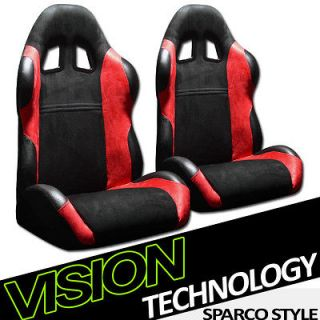 JDM Black & Red Racing Bucket Seats+Sliders 27 (Fits Subaru Legacy