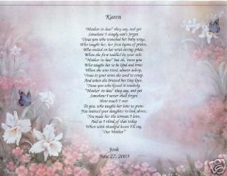 wedding mother in law poem personalized print prayer time left