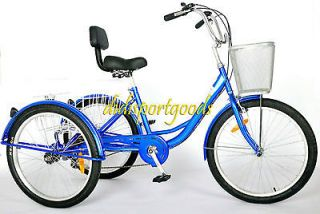BRAND NEW 24 ADULT TRICYCLE BICYCLE 6 SPEED TRIKE 3 WHEELS BLACK BLUE
