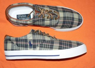 Polo Ralph Lauren Vaughn mens shoes canvas leather sneakers new plaid