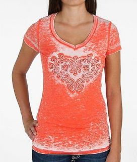velvet stone scrolled heart t shirt women s large
