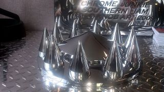 chrome semi truck front wheel covers w spike lug nuts