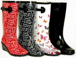 CUTE Medium Wedge Flat GALOSHES WELLIES RUBBER RAIN Boot Hunter Style