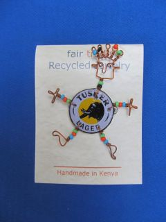 DESIGN African Ethnic Jewelry FAIR TRADE TUSKER BEER CAP PIN KENYA A