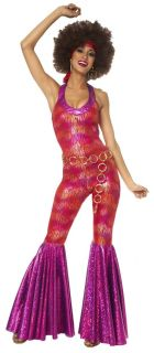 1970s Funky Disco Foxy Lady Halloween Costume 70s Jumpsuit Adult Woman