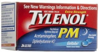 Tylenol PM Extra Strength Pain Reliever Fever Reducer Geltabs 24 Count