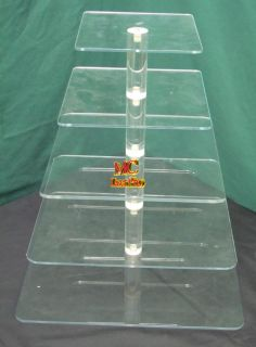 5TIER 1 4Thick Square Acrylic Cupcake Cake Tower Stand Wedding Party
