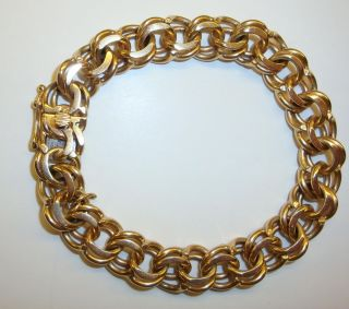 Vintage 14k Yellow Gold Double Link Charm Bracelet