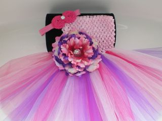 BABY GIRL LONG PINKS PURPLE TUTU PHOTO PROP DRESS WITH HEADBAND