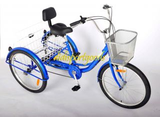 Brand New 24 Adult Tricycle Bicycle 6 Speed Trike 3 Wheels