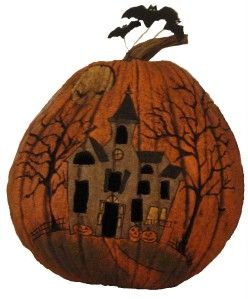 New Salem Collection Lighted Pumpkin Carved Halloween Haunted House