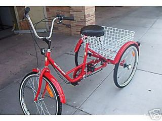 Wheel Adult Bike Tricycle Bicycle 6 Speed 24 Wheels Gomier Red