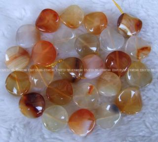 16mm natural fire agate flat coin twist beads 16
