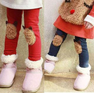 Cute Casual Girls Pants Kids Toddlers Bear Leggings Size 2 7 Years