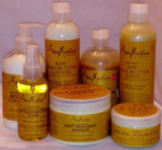 Shea Moisture Organic Raw Shea Butter Hair and Skincare Bundle 7pcs