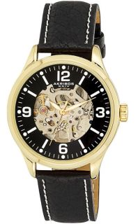 Akribos XXIV AK494YG Skeleton Automatic Black Strap Mens Watch