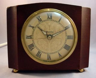 SHERATON Art Deco Electric Alarm Clock Mahogany Wood Case Works Canada