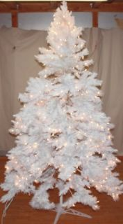New Christmas Tree 6 5 White Alaskan Spruce Pre Lit Clear Lights Snow