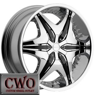 24 Chrome Akuza Big Papi Wheels Rim 5x127 5x135 5 Lug Jeep Wrangler