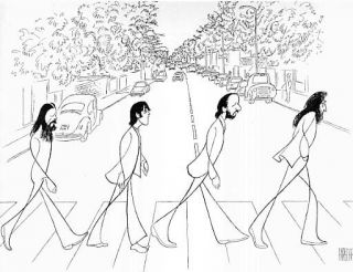 Al Hirschfeld The Beatles Abbey Road Signed Lithograph