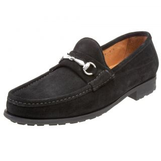 ALLEN EDMONDS MENS LUCCA BLACK BIT SUEDE SLIP ON CASUAL LOAFERS DRESS