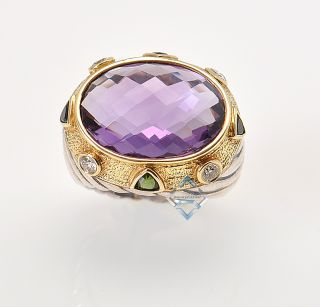 Yurman 14k Yellow Gold Silver Amethyst Diamond Ring Exquisite
