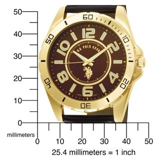 Polo Assn. Mens USC50012 Analogue Brown Dial Leather Strap Watch