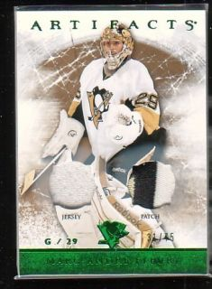 12 13 UD Artifacts Marc Andre Fleury Dual Game Jersey Patch 75 3CL