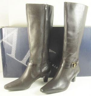 Anne Klein Gauge 7 5 M Dark Brown Leather Knee High Boots Heels Womens