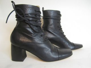 Ann DEMEULEMEESTER Black Leather Lace Up Boots w Curved Heel Sz 6 5