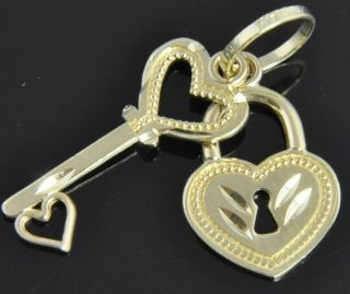 Michael Anthony 14K Yellow Gold Skeleton Key Heart Lock Padlock Charm