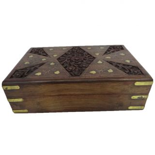 Antique Wooden Box Vintage Style Small Jewelry Box Storage Wood Trunk