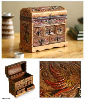 ANTIQUE STYLE Artist BURNISHED LEATHER+ Wood Jewelry Box Chest of