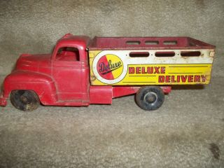 Antique toy truck Delux Delivery Red Truck   MARX Toys