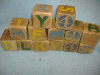 1940 CHILDRENS WOOD WAGON & ABC NUMBER BLOCKS Antique Baby Wooden Pull