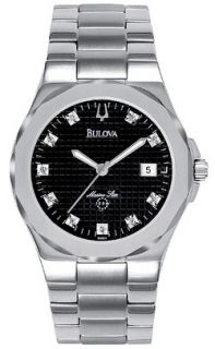 New Mens Stainless Steel Bulova 96D14 Marine Star Diamond Date 100M