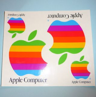 ViNTAGE 1980s APPLE COMPUTER STiCKERS RAINBOW MAC 4 2 SHEET MiNT FREE
