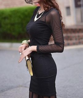 Black Sexy Back Perspective Mesh Slim Long Sleeve Spandex Dress Womens