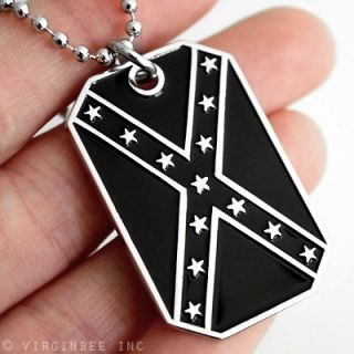 CONFEDERATE STATES AMERICA FLAG SUBDUED B&W DIXIE REBEL PENDANT DOG