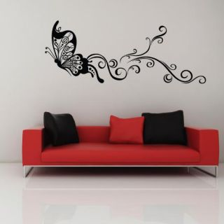 Black Large Butterfly Mural Art Wall Stickers Vinyl Decal Home Room