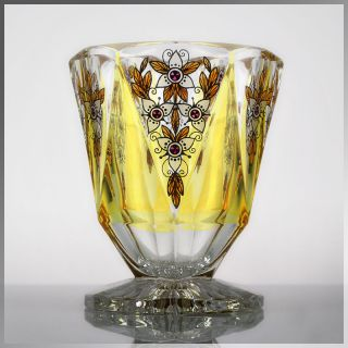Stunning 1930s Bohemian Art Deco Glass Vase by Karl Palda