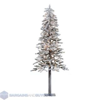 Flocked Alpine 72 Artificial Christmas Tree   Clear Mini Lights