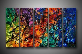 PAINTED HANDICRAFTS HUGE CANVAS ART MODERN ABSTRACT OIL PAINTING 5PC